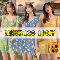 one piece  Baiya L [120-140 kg], XL [140-160 kg], 2XL [160-180 kg] Skirt one piece With chest pad without steel support polyester fiber female Short sleeve Casual swimsuit other Lotus leaf edge