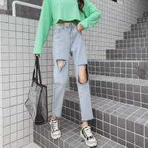 Jeans Summer 2020 Retro light blue S M L XL 2XL 3XL 4XL 5XL Ninth pants High waist Straight pants Thin money 18-24 years old Worn out and washed white zipper button Cotton denim light colour A2566 Millwood 81% (inclusive) - 90% (inclusive) Cotton 83.1% others 16.9% Pure e-commerce (online only)