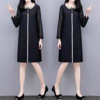 Dress Spring 2021 black S,M,L,XL,2XL,3XL Mid length dress singleton  Long sleeves Loose waist routine