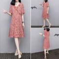 Dress Summer 2021 gules S,M,L,XL,2XL,3XL Mid length dress other Short sleeve commute Decor Socket routine Others Korean version