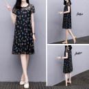 Dress Summer 2021 black S,M,L,XL,2XL,3XL Mid length dress singleton  Short sleeve Crew neck Loose waist Decor
