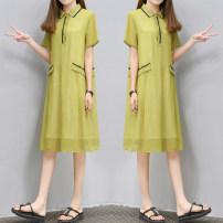 Dress Summer 2021 Picture color S,M,L,XL,2XL,3XL singleton  Short sleeve Loose waist Solid color routine