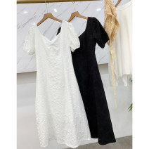 Dress Summer 2020 White, black S,M,L Middle-skirt singleton  Long sleeves commute Crew neck High waist Decor Socket A-line skirt routine 25-29 years old Type A printing ZZHVP906248 30% and below Crepe de Chine other