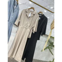 Dress Summer 2021 Apricot, blue, black S,M,L Middle-skirt singleton  elbow sleeve commute other High waist Decor Socket A-line skirt routine 25-29 years old Type A ZZHVP906061 30% and below other other