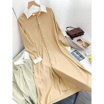 Dress Summer 2020 Khaki dress, apricot green dress S, M longuette singleton  Long sleeves commute Polo collar High waist Solid color Single breasted Big swing shirt sleeve Others 18-24 years old Type A Korean version XH509363 30% and below other other