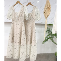 Dress Summer 2021 Apricot, black S,M,L,XL Mid length dress singleton  Short sleeve commute square neck Loose waist A-line skirt routine 18-24 years old Type A Korean version printing ZZHVP906271 30% and below Crepe de Chine other