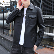 leather clothing Winlandsea Youth fashion Coffee black 4XL M L XL 2XL 3XL routine Imitation leather clothes Lapel Slim fit zipper autumn leisure time youth PU tide HD-PY-8717TT Straight hem Mingji thread patch bag Multiple pockets No iron treatment Autumn 2020 Pure e-commerce (online only)