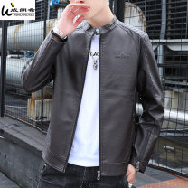 leather clothing Winlandsea Youth fashion Black Brown M L XL 2XL 3XL 4XL routine Imitation leather clothes stand collar Slim fit zipper autumn leisure time youth PU tide HD-PY-9022TT Straight hem Side seam pocket Assembly No iron treatment Autumn 2020 Pure e-commerce (online only) Color block