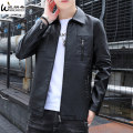leather clothing Winlandsea Youth fashion Coffee black 4XL M L XL 2XL 3XL routine Imitation leather clothes Lapel Slim fit zipper autumn leisure time youth PU tide HD-PY-9023TT Straight hem Zipper bag Arrest line No iron treatment Autumn 2020 Pure e-commerce (online only) Color block