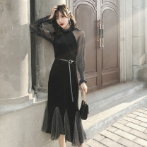 Dress Autumn of 2019 black S M L XL longuette singleton  Long sleeves commute Crew neck High waist Solid color Socket other other Others 18-24 years old Type A Beautiful and beautiful Korean version bow More than 95% Flannel polyester fiber Polyester 100% Pure e-commerce (online only)