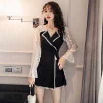 Women's large Autumn of 2019 black L XL XXL S M Dress Two piece set commute Self cultivation Socket Long sleeves Solid color Korean version V-neck other Three dimensional cutting pagoda sleeve Beautiful and beautiful 25-29 years old Lace stitching 96% and above Short skirt Polyester 100% zipper other
