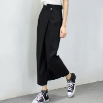 skirt Spring 2021 S,M,L black longuette Versatile High waist A-line skirt Solid color Type A More than 95% other trr other
