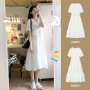 Dress Spring 2021 White dress S M L XL Mid length dress singleton  Short sleeve Sweet V-neck Solid color Princess Dress Others 18-24 years old Type A Han Feili A0314.2 More than 95% other Other 100% Mori Pure e-commerce (online only)