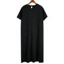 Dress Spring 2021 black Average size Mid length dress singleton  Short sleeve commute Crew neck Loose waist Solid color Socket routine 25-29 years old Type H Korean version 51% (inclusive) - 70% (inclusive)