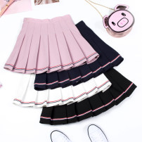 skirt Summer of 2019 S M L XL XXL Black white pink Navy Short skirt Versatile High waist Pleated skirt Solid color Type A YX-1821 Yingxuan (clothing) Fold splicing Pure e-commerce (online only)