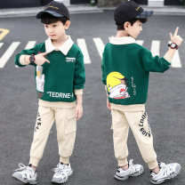 suit Explanation of the steps Green Navy 110cm 120cm 130cm 140cm 150cm 160cm 170cm male spring and autumn Korean version Long sleeve + pants 2 pieces routine There are models in the real shooting Socket nothing Cartoon animation blending children Giving presents at school Other 100% Autumn 2020