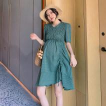 Dress Jianyu Green black M L XL Korean version Short sleeve Medium length summer V-neck L0521
