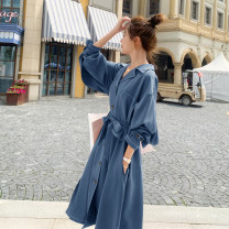 Dress Autumn 2020 XS S M L Mid length dress singleton  Long sleeves commute tailored collar High waist Solid color Single breasted Irregular skirt bishop sleeve Others 18-24 years old Type A Yiyun Korean version Pocket lace up button More than 95% polyester fiber Other polyester 95% 5%