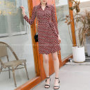 Dress Summer 2021 Same model (short), same model (long) XS,S,M,L,XL Mid length dress singleton  three quarter sleeve commute Polo collar Elastic waist Decor other One pace skirt routine Breast wrapping 25-29 years old Type X Korean version Bow, tie, print