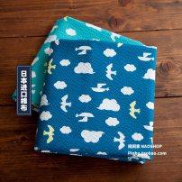 Fabric / fabric / handmade DIY fabric cotton [01] lake green x half yard, [02] blue x half yard Loose shear piece Cartoon animation printing and dyeing clothing Japan and South Korea Noisy home 100%