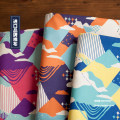 Fabric / fabric / handmade DIY fabric cotton Loose shear piece Geometric pattern printing and dyeing clothing Japan and South Korea Noisy home 100%