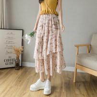 skirt Summer 2021 S M L XL Pink Black Mid length dress commute High waist Cake skirt Decor Type A More than 95% Chiffon Han Yafei other Asymmetric stitching printing with ruffles Korean version Other 100% Pure e-commerce (online only)