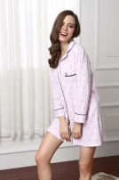 Nightdress Other / other Dark blue, Decor XS,M,S sexy Long sleeves pajamas Short skirt Solid color V-neck cotton Sticking cloth More than 95% pure cotton