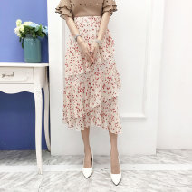 skirt Summer of 2019 S M L XL Mid length dress fresh High waist Irregular 18-24 years old More than 95% Cherry petals polyester fiber Polyester 98% other 2% Pure e-commerce (online only)