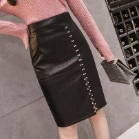 skirt Autumn of 2019 XS S M L XL 2XL black Mid length dress Versatile High waist skirt Solid color 25-29 years old More than 95% other Nail bead PU Pure e-commerce (online only)