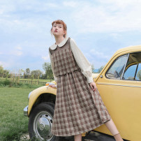 Dress Autumn 2020 Coffee Plaid Dress (in stock), coffee Plaid Dress (pre-sale) S, M Mid length dress Fake two pieces Long sleeves Sweet Doll Collar High waist lattice zipper Big swing shirt sleeve Others 18-24 years old Type A Stitching, wave, mesh, zipper solar system