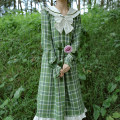 Dress Autumn of 2019 White wood ear Green Plaid Dress (in stock), white wood ear Green Plaid Dress (pre-sale) S,M,L Mid length dress singleton  Long sleeves Sweet Admiral High waist lattice Socket Ruffle Skirt routine Others 18-24 years old Type A Bow, ruffle, Auricularia auricula, stitching cotton