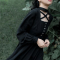 Dress Autumn of 2019 Long cut out cross dress (spot), long cut out cross dress (pre-sale), regular cut out cross dress (spot), regular cut out cross dress (pre-sale) S,M,L Mid length dress singleton  Nine point sleeve commute other High waist Solid color Socket Big swing other Others 18-24 years old