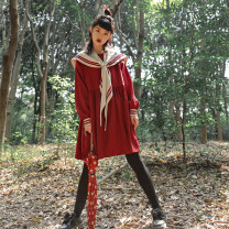 Dress Winter of 2019 S,M,L Middle-skirt singleton  Long sleeves Sweet Admiral High waist Solid color Socket Big swing routine Others 18-24 years old Type A Bowknot, stitching 31% (inclusive) - 50% (inclusive) cotton solar system