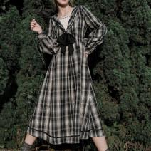 Dress Winter 2020 S,M,L Mid length dress singleton  Long sleeves Sweet Admiral High waist lattice zipper Big swing shirt sleeve Others 18-24 years old Type A solar system
