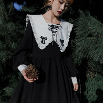 Dress Autumn 2020 S, M Mid length dress singleton  Long sleeves Sweet Admiral High waist Solid color zipper Big swing shirt sleeve Others 18-24 years old Type A solar system