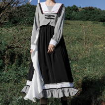 Dress Autumn 2020 Wuji Wulong dress (in stock), Wuji Wulong dress (pre-sale) S,M,L Mid length dress singleton  Long sleeves Sweet Admiral High waist Solid color zipper Irregular skirt shirt sleeve Others 18-24 years old Type A solar system