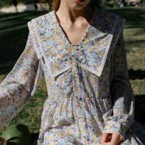Dress Spring 2021 S, M Mid length dress singleton  Long sleeves Sweet Double collar High waist Broken flowers Big swing shirt sleeve Others 18-24 years old Type A Mori