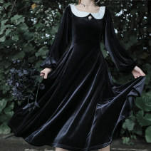 Dress Autumn 2020 Velvet white collar black skirt (in stock), velvet white collar black skirt (pre-sale) S, M Mid length dress singleton  Long sleeves Sweet square neck High waist Solid color zipper Big swing bishop sleeve Others 18-24 years old Type A solar system