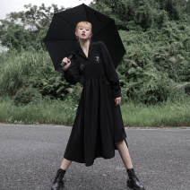 Dress Autumn 2020 Star fall black skirt (in stock), star fall black skirt (pre-sale) S, M Mid length dress singleton  Long sleeves Sweet tailored collar High waist other Big swing shirt sleeve Others 18-24 years old Type A Embroidery, pocket, lace up, stitching, strap, button solar system