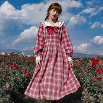 Dress Autumn 2020 Raspberry checked skirt (in stock), raspberry checked skirt (pre-sale) S,M,L Mid length dress singleton  Long sleeves Sweet Admiral High waist lattice zipper Big swing shirt sleeve Others 18-24 years old Type A Bowknot, flounce, Auricularia auricula, lace, stitching, strap, zipper