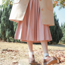 skirt Winter of 2019 S,M,L Mid length dress Versatile High waist Pleated skirt Solid color Type A 18-24 years old 31% (inclusive) - 50% (inclusive) Wool wool zipper