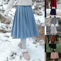 skirt Winter 2020 S,M,L Mid length dress Versatile High waist Pleated skirt Solid color Type A 18-24 years old B2023 Wool wool zipper