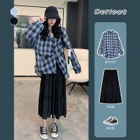 Fashion suit Summer 2020 S M L XL Dark blue (plaid shirt) knitted suspender black (skirt) 18-25 years old Delivery date PQ2939 Other 100% Pure e-commerce (online only)