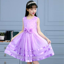 Dress Summer 2021 Purple, blue, pink The recommended height is 100cm for 110, 110cm for 120, 120cm for 130, 130cm for 140, 140cm for 150 and 150cm for 160 Mid length dress Two piece set Sleeveless Sweet Crew neck middle-waisted Solid color Under 17 Other / other Lace college
