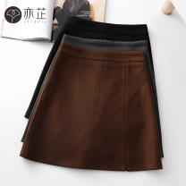 skirt Autumn 2020 XS S M L XL 2XL Coffee black grey Short skirt commute High waist A-line skirt Solid color Type A 25-29 years old yz5251 81% (inclusive) - 90% (inclusive) Wool Yizhi polyester fiber zipper Korean version Polyester fiber 87% cotton 10% polyurethane elastic fiber (spandex) 3%
