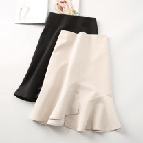 skirt Summer 2020 XS S M L XL 2XL Black apricot Mid length dress commute High waist Ruffle Skirt Solid color Type A 25-29 years old yz5049-1 Yizhi Lotus leaf edge Korean version Pure e-commerce (online only)