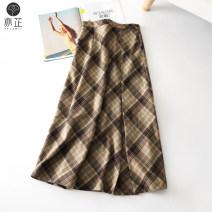 skirt Autumn 2020 XS S M L XL 2XL khaki Mid length dress commute High waist A-line skirt lattice Type A 25-29 years old More than 95% Wool Yizhi polyester fiber zipper Korean version Polyester 100% Pure e-commerce (online only)