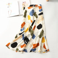 skirt Summer 2020 XS S M L XL 2XL white Mid length dress commute High waist A-line skirt Abstract pattern Type A 25-29 years old Yizhi printing Korean version Pure e-commerce (online only)