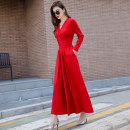 Dress Autumn of 2019 Red and black S M L XL XXL longuette singleton  Long sleeves street V-neck High waist Solid color Socket Big swing routine Others 30-34 years old Type A Meijiafu Pocket stitching strap MJFALYQ80 31% (inclusive) - 50% (inclusive) other cotton Exclusive payment of tmall
