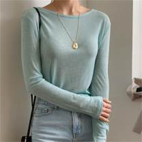 T-shirt Single code Summer 2020 Long sleeves Crew neck Self cultivation Regular routine commute polyester fiber 51% (inclusive) - 70% (inclusive) Simplicity classic Solid color Han Jianna Polyethylene terephthalate (PET) 65% viscose (viscose) 35% Pure e-commerce (online only)